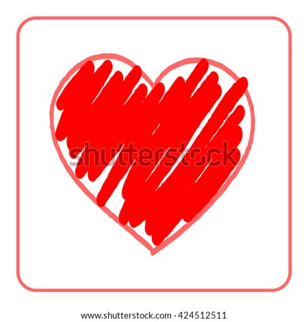 Heart red bright icon. Drawing brush shape sign, isolated on white background. Grunge design handmade card. Symbol of love, Valentine Day, holiday and romantic, marriage, proposal. Vector illustration - stock vector