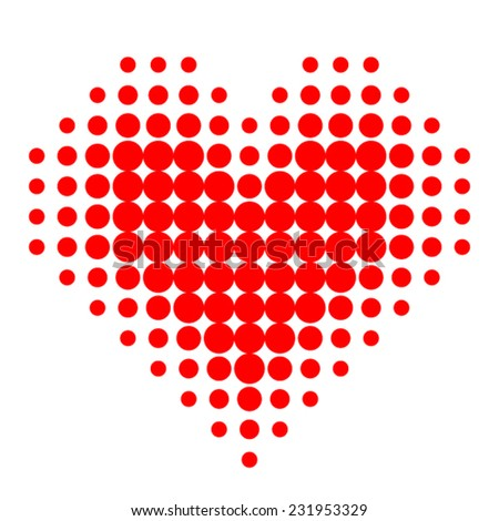 Heart red. Vector halftone dots. - stock vector