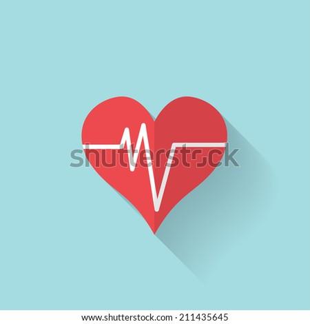 Heart rhythm, cardiogram, medical flat icon. - stock vector