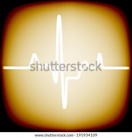Heart rhythm on an old screen - stock vector