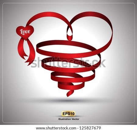Heart ribbon twist for love concept / wedding day / valentine's day. Vector illustration. - stock vector