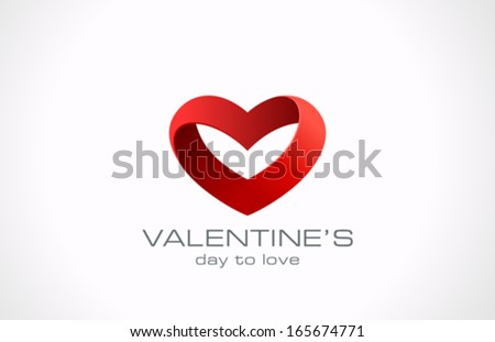 Heart ribbon vector logo design template. Looped shape. Infinity love concept for st. Valentine day icon. - stock vector