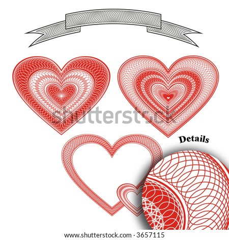 Heart rosettes vector - stock vector