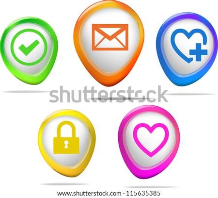 Heart set of aqua icon for web site, dating agency