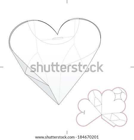 Heart Shape Box with Die-cut Pattern - stock vector