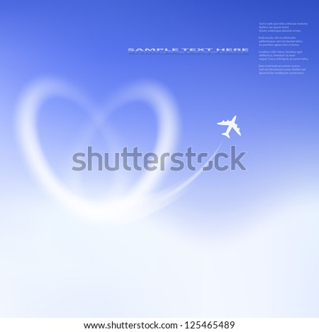 Heart shape clouds on blue sky. - stock vector