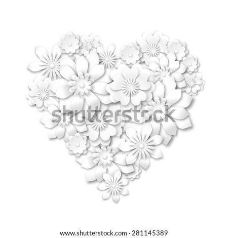 heart shape composed from white flowers with 3d effect on white background, vector illustration, eps 10 with transparency - stock vector