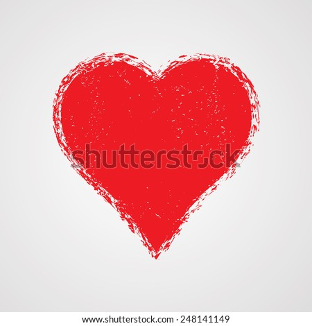 Heart Shape. Distressed Texture. Valentine's Day Background. - stock vector
