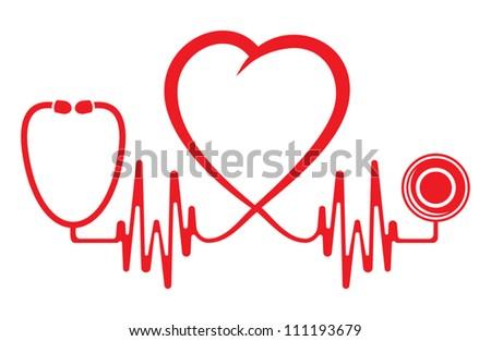 Heart shape ECG line with stethoscope - stock vector