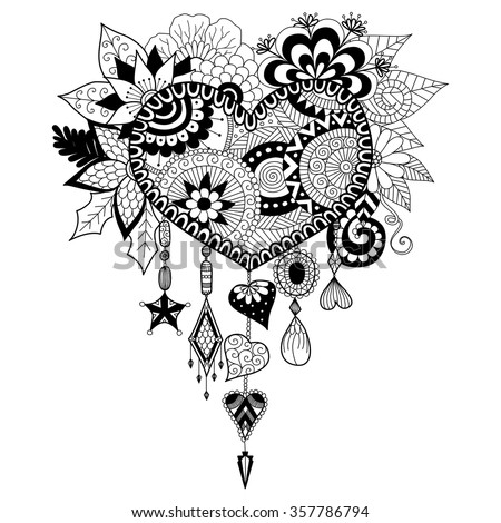 Heart shape floral dream catcher coloring stock vector for Adult coloring pages dream catchers