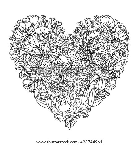 hearts and butterflies coloring pages - heart shaped flower coloring page coloringcom sketch