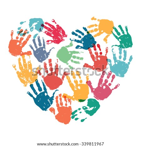 Handprint Heart Clipart Heart Shape Formed Col...