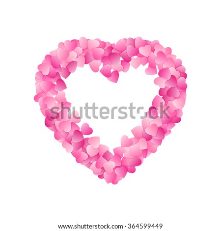 Heart Shape Frame Made Of Pink Hearts. Valentines Day Card Or Wedding Invitation Template. Vector. - stock vector