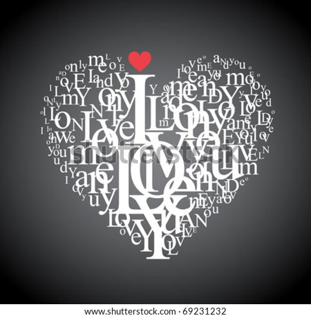 Heart shape from letters - typographic composition - stock vector