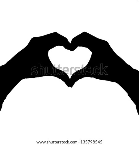 Heart shape hand gesture isolated on white - stock vector