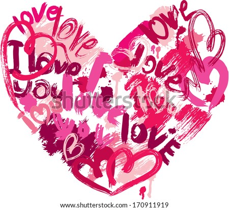 Heart shape is made of brush strokes and scribbles and words LOVE, I LOVE YOU - element for Valentines Day or wedding design - stock vector