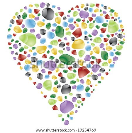 heart shape made with color gems or stones