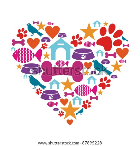 Heart shape made with pets care icons set. - stock vector