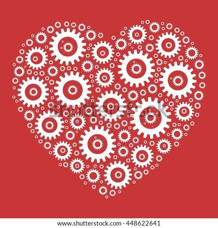 Heart shape mosaic of cog wheels. Looks like clockwork heart or love machine. White illustration on red background. - stock vector