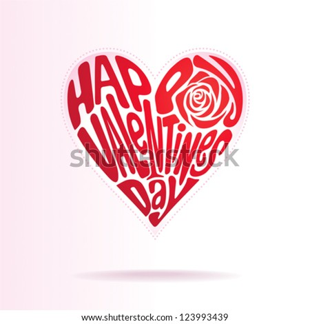 Heart shape of text happy valentines day. - stock vector