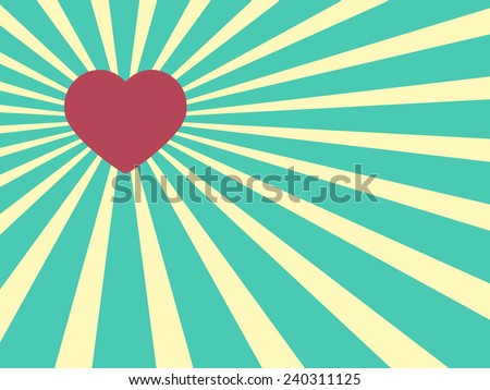 Heart shape on a Sun rays Illustration with Valentine's Day concept,Vector illustration - stock vector