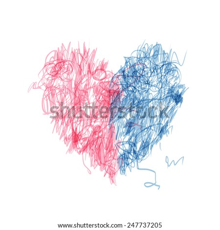 Heart shape pencil drawing for your design. Vector illustration - stock vector