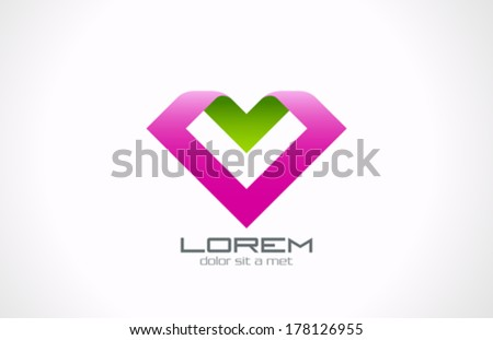 "Heart Shape Ribbon paper origami style vector logo design template. ""Love"" origami concept icon. Health care, Beauty salon, fashion emblem. - stock vector"