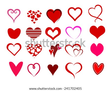 Heart shape set vector