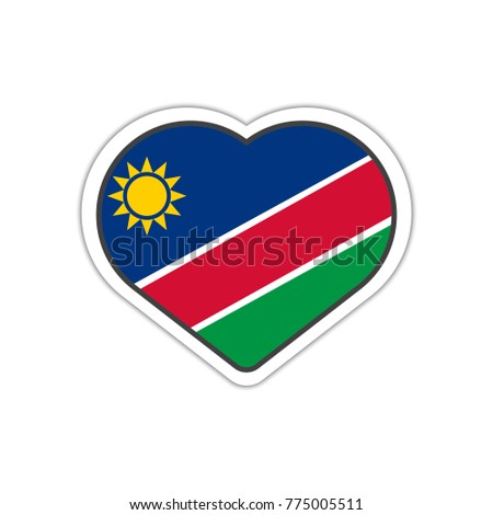 Heart shape sticker or label design for namibia flag illustration for greeting cards posters