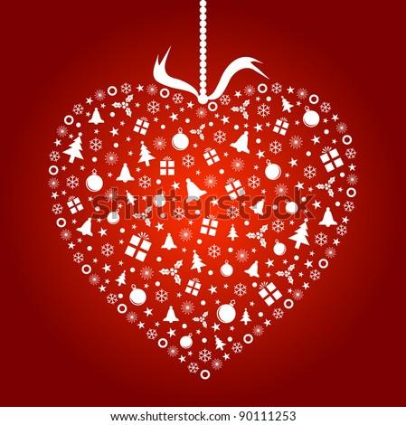 Heart Shape Stylized Christmas Ornament Design (Vector) - stock vector