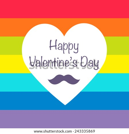 Heart shape Valentine rainbow background pattern with mustache, Gay hipster concept Poster - stock vector