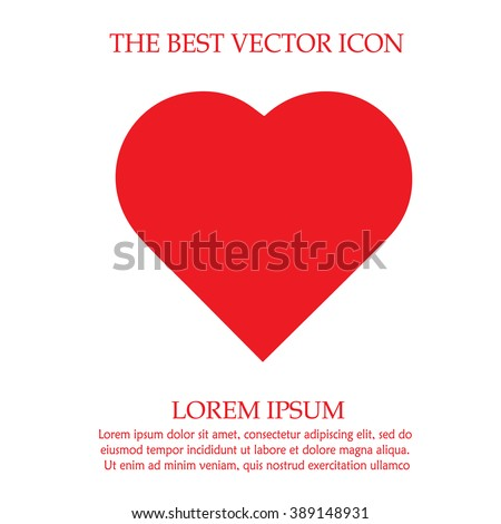Heart shape vector icon eps 10. Simple red valentine symbol. Love sign.