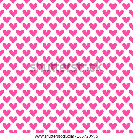 Heart shape vector seamless pattern (tiling). Pink and white colors. Endless texture can be used for printing onto fabric and paper or scrap booking. Valentines day background for invitation. - stock vector