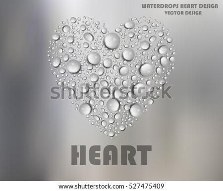 Heart Shape Water Drops on Frosted Glass - Vector Design