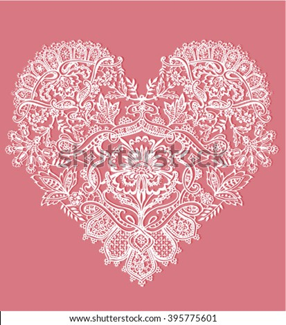Heart shape with floral ornament - stock vector