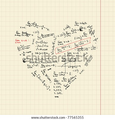 Heart shape with math formulas for your design - stock vector
