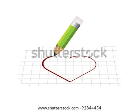 Heart shape with pencil