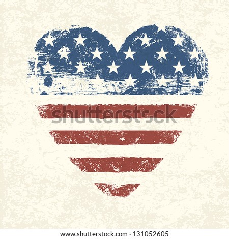 Heart shaped american flag. Vector, EPS10 - stock vector