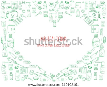 Heart shaped background made of healthcare and medicine hand drawn icons, doodle medical elements, vector background with wellness freehand drawings. Vector sketch illustration - stock vector