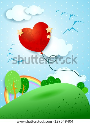 Heart shaped balloon, vector illustration
