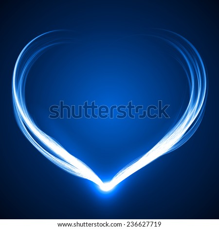 heart shaped blue spell effect.(connecting on bottom) - stock vector