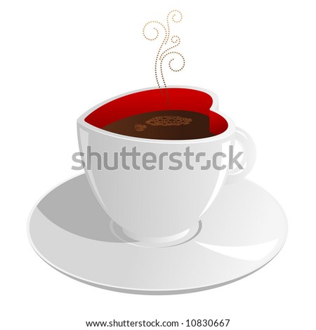 Heart shaped cup of coffee. - stock vector
