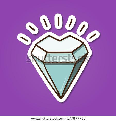 Heart shaped diamond stone. Paper sticker imitation. Vector card concept. Romantic tender design - stock vector