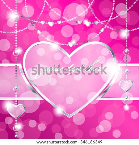 Heart-shaped frame on sparkly hot pink background (eps10);  - stock vector