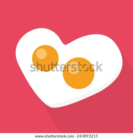 Heart Shaped Fried Egg - stock vector