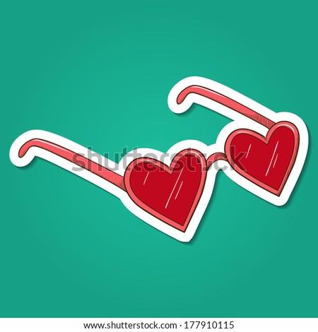 Heart shaped glasses. Paper sticker imitation. Vector card concept. Romantic tender design - stock vector