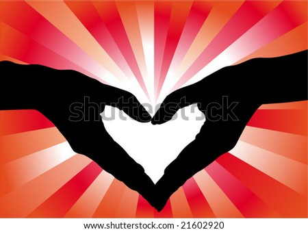 heart-shaped hands spark - stock vector