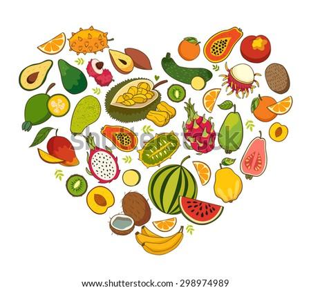 Heart shaped healthy foods, fruit vector illustration - stock vector
