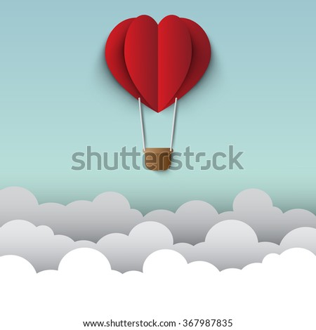 Heart shaped hot air balloons - stock vector