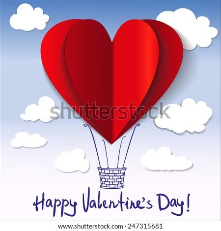Heart-shaped hot air balloons background vector llustration - stock vector